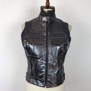 Bebe Sport Gunmetal Leather Moto Lined Vest